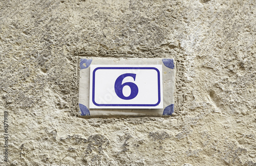 Number six on a wall