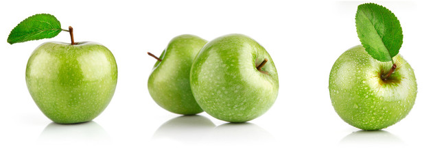 Set green apple fruits with leaf