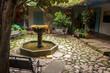 Fountain in Colonial Courtyard