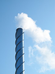 Steel smoking stack of the modern boiler-house