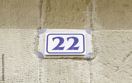 Number twenty-two on a wall