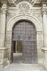 Old wooden door of a medieval church