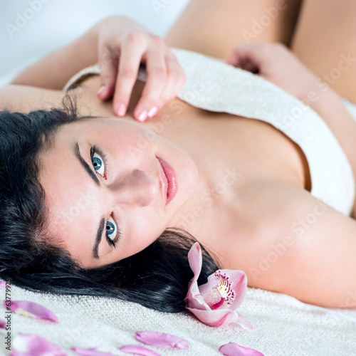 canvas print picture Young female at the day spa