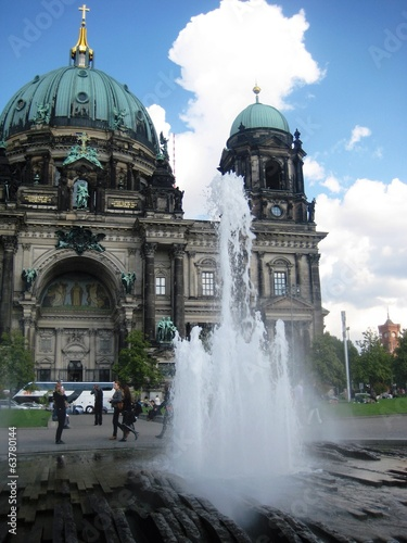 canvas print picture fountain near berlin cathedral