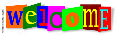 Colourful inscription on colored substrates welcome - vector