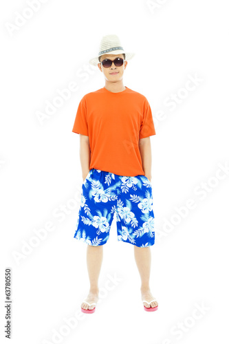 sunny man wearing beach short  and Flip Flops