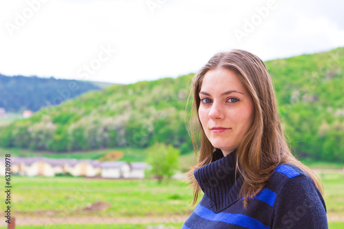 Pretty girl at countryside