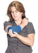 Woman with injured elbow using an elastic support