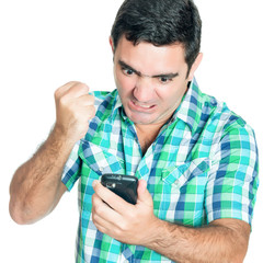 Angry man punching his mobile phone