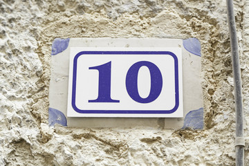 Number ten on a wall