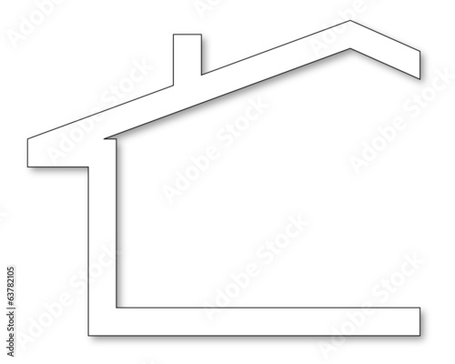 Silhouette of a house with a chimney - vector
