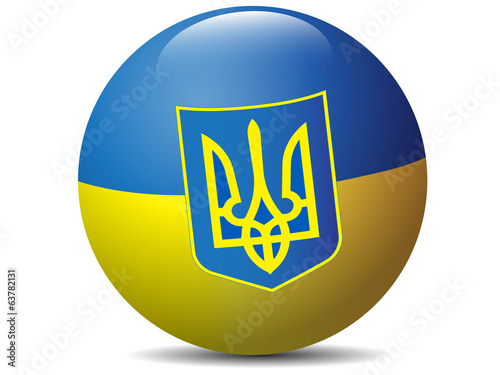 Ukraine flag globe.Vector