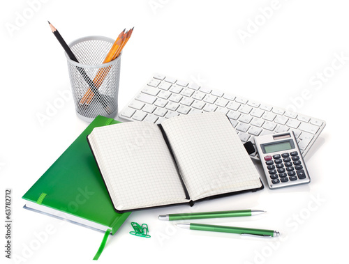 Office supplies, keyboard and calculator
