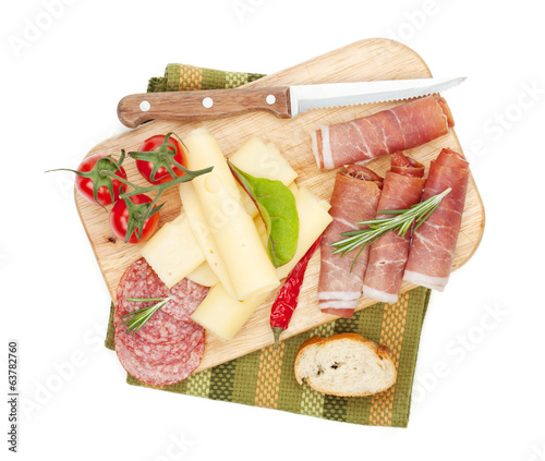 Cheese, prosciutto, bread, vegetables and spices
