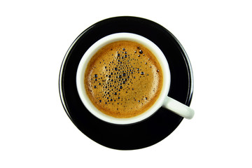 black cup of coffee on saucer from the top, isolated