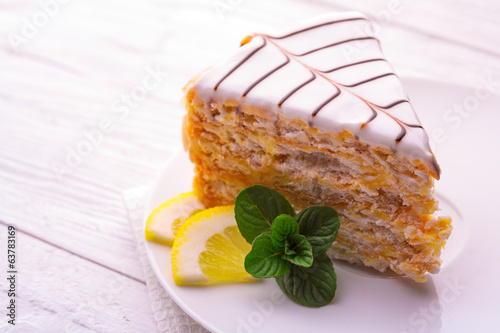 delicious cake with lime and mint