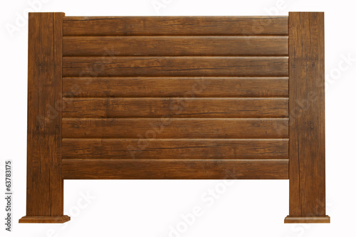 brown wooden headboard isolated on white