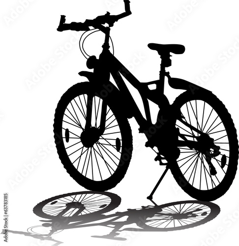 Vector silhouette of bicycle on white background