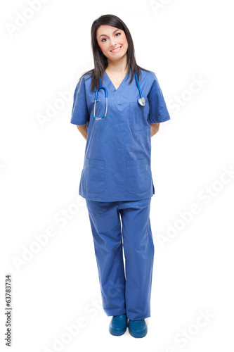 Friendly nurse isolated on white full length