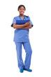 Smiling black nurse full length