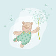 Baby Shower or Arrival Card - Baby Bear with Flower - in vector