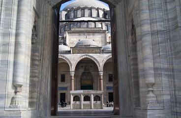 entrance to Suleymaniye mosque in Istanbul, Turkey