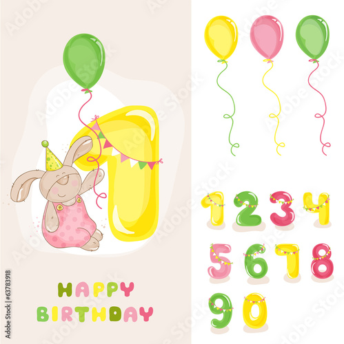 Baby Bunny Birthday Card - with Editable Numbers - invitation