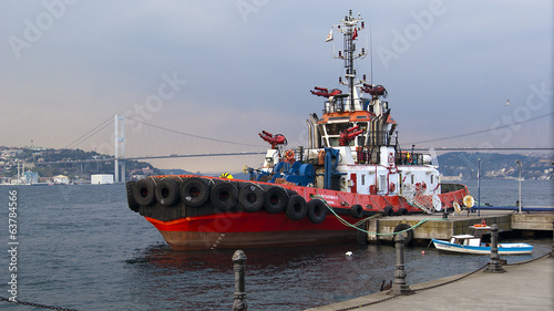 Fire Fighting Boat On Seaport   Tugboat