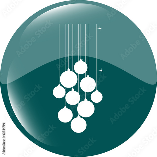 isolated christmas ball set on web icon, isolated on white