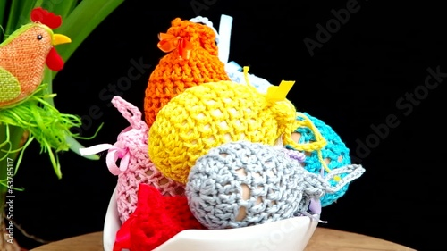 Easter decoration, crocheted eggs