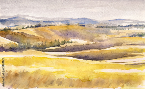 Tuscany landscape.Watercolors.