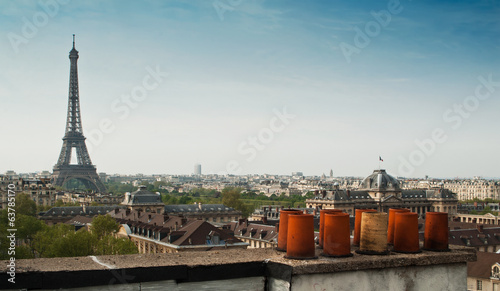 canvas print picture panorama toits de Paris et tour Eiffel