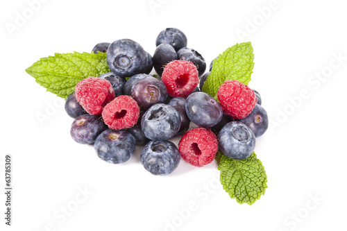 blueberries and raspberries isolated