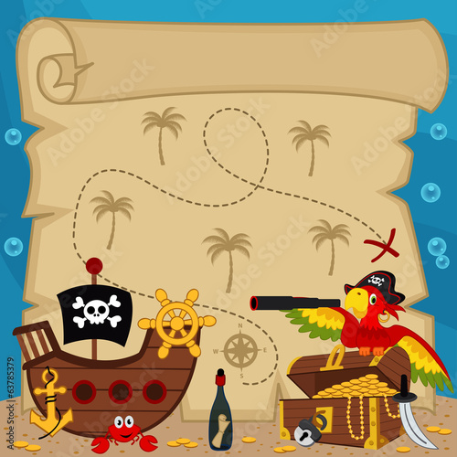 old treasure map - vector illustration