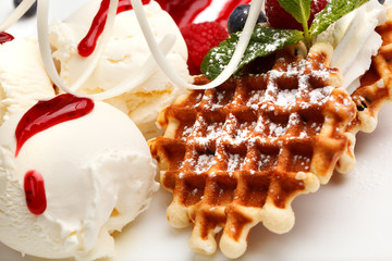 Restaurant dessert with waffles and ice-cream