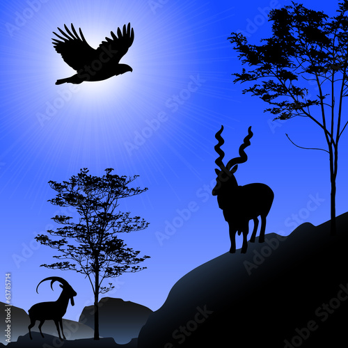 ibex and eagle silhouette