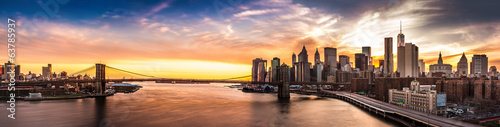 canvas print picture Brooklyn Bridge panorama at sunset