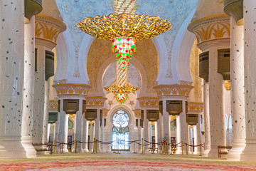 Sheikh Zayed Grand Mosque interior in Abu Dhabi, UAE