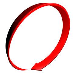 Freccia rossa 3d curva cerchio
