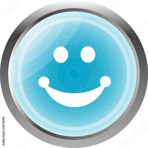 Smile icon glossy button isolated on white