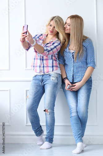 Best friends with phone