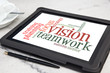 tablet with vision word cloud