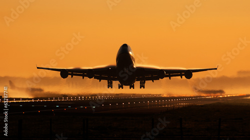 Airplane sunrise take-off