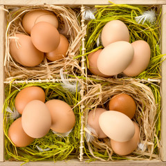 Eggs in wooden box