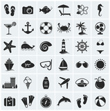Fototapety Set of sea and beach icons. Vector illustration.