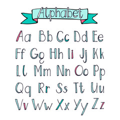 Hand drawn Alphabet A to Z with ribbon