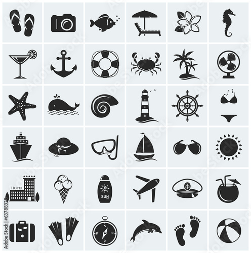 Set of sea and beach icons. Vector illustration.
