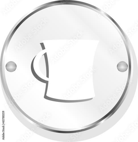 coffee cup button icon isolated on white