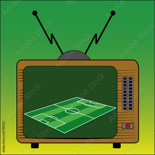 TV football broadcast vector brazil retro vintage