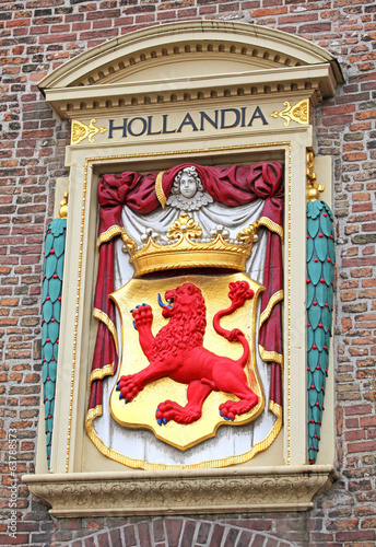 Symbol HOLLANDIA on the building in the city The Hague, Netherla